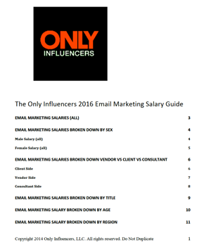 2016 Only Influencers Email Marketers Salary Guide