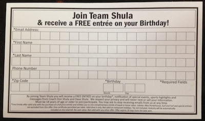 Shula Email Sign Up